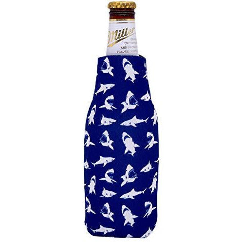 beer bottle koozie with shark pattern design