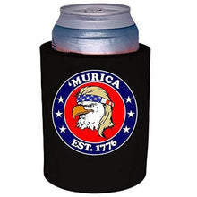 "Load image into Gallery viewer, black thick foam old school can koozie with ""'Murica 1776"" logo and bald eagle mullet funny design"