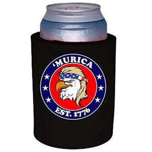"black thick foam old school can koozie with ""'Murica 1776"" logo and bald eagle mullet funny design"