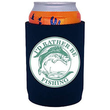 Load image into Gallery viewer, full bottom can koozie with id rather be fishing design