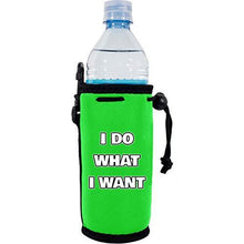 "Load image into Gallery viewer, neon green water bottle koozie with funny ""i do what i want"" text design"