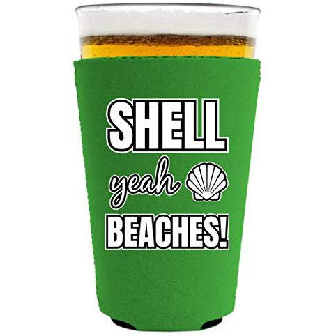 pint glass koozie with shell yeah beaches design
