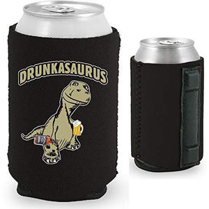 black magnetic can koozie with drunkasaurus funny design