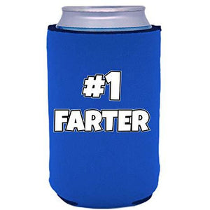 royal blue can koozie with #1 farter (father) funny text design