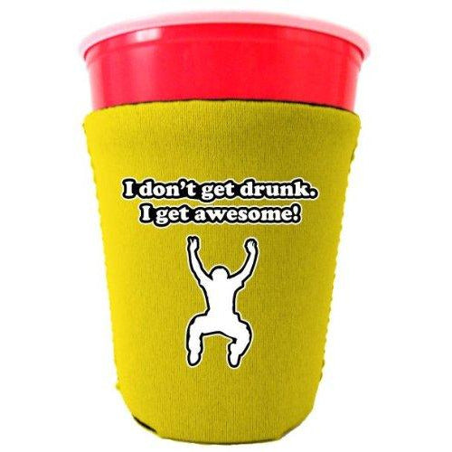 yellow party cup koozie with i dont get drunk i get awesome design