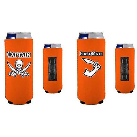 orange magnetic slim can koozies with captain and first mate designs