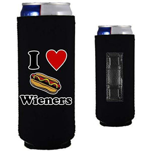 "black magnetic slim can koozie with ""i (heart) wieners"" text and hot dog illustration design"