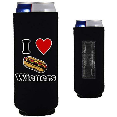 black magnetic slim can koozie with
