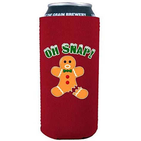 16 oz can koozie with oh nap ginger bread man design