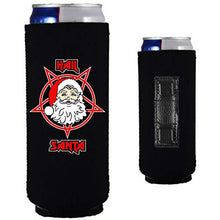 Load image into Gallery viewer, black magnetic slim can koozie with funny hail santa design