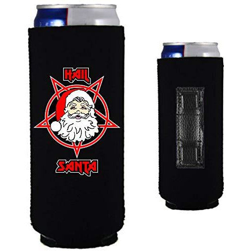 black magnetic slim can koozie with funny hail santa design