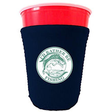 Load image into Gallery viewer, navy party cup koozie with id rather be fishing design
