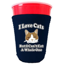 Load image into Gallery viewer, navy party cup koozie with i love cats but i cant eat a whole one design