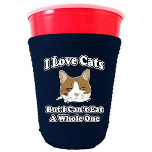 navy party cup koozie with i love cats but i cant eat a whole one design