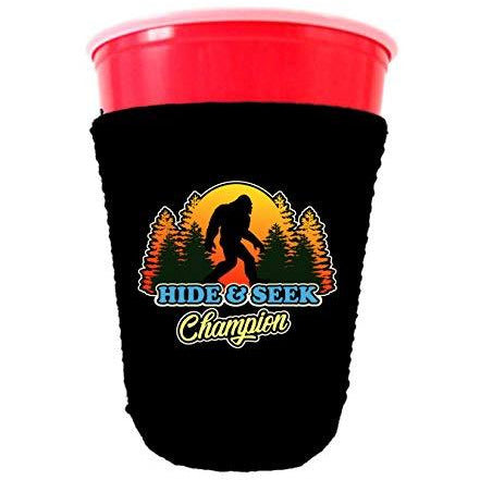 black partycup koozie with hide and seek champion design