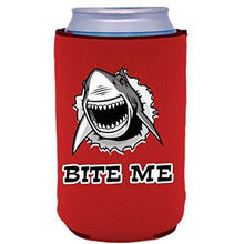 "Load image into Gallery viewer, red can koozie with shark graphic and ""bite me"" text below"
