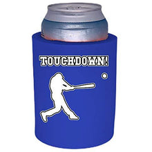 Load image into Gallery viewer, royal blue old school thick foam koozie with touchdown design