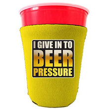 Load image into Gallery viewer, yellow party cup koozie with i give into beer pressure design