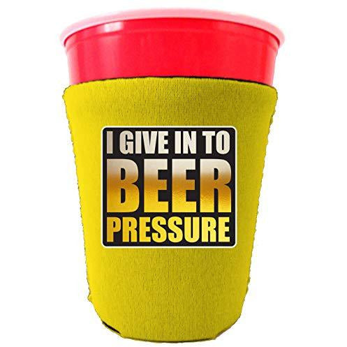 yellow party cup koozie with i give into beer pressure design
