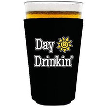 "Load image into Gallery viewer, black pint glass koozie with ""day drinkin"" funny text design"