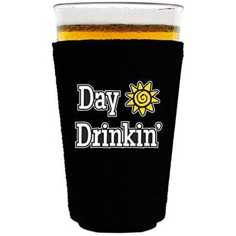 "black pint glass koozie with ""day drinkin"" funny text design"
