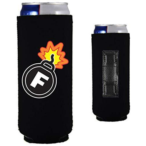black magnetic slim can koozie with f bomb funny print design