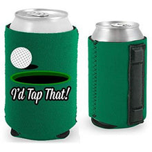 Load image into Gallery viewer, kelly green magnetic can koozie with i'd tap that funny golf design