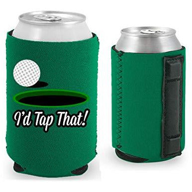 kelly green magnetic can koozie with i'd tap that funny golf design