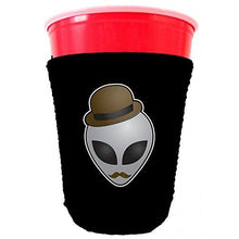 Load image into Gallery viewer, black party cup koozie with alien in disguise design