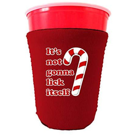 red party cup koozie with its not gonna lick itself design