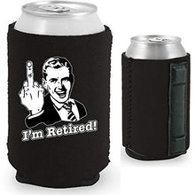 Load image into Gallery viewer, black magnetic can koozie with funny i'm retired middle finger design
