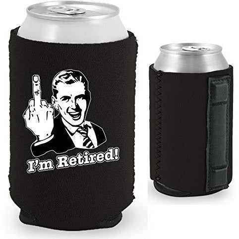 black magnetic can koozie with funny i'm retired middle finger design