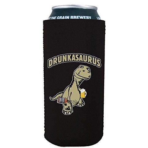 16oz can koozie with drunkasaurus funny design