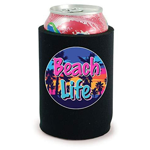 full bottom can koozie with beach life design