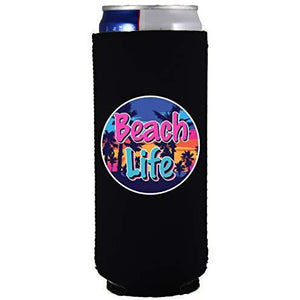 slim can koozie with beach life design