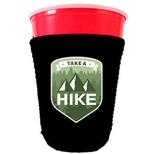 Load image into Gallery viewer, party cup koozie with take a hike design
