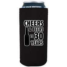 Load image into Gallery viewer, 16oz can koozie with cheers and beers to 30 years design