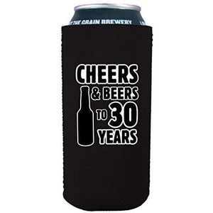 16oz can koozie with cheers and beers to 30 years design