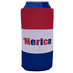 "16oz can koozie with ""'Merica"" text and red white and blue stripe design"