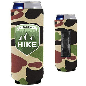 camo magnetic slim can koozie with take a hike text and mountain and tree graphic design