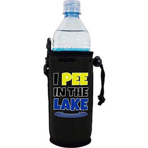 "black water bottle koozie with ""I pee in the lake"" funny text design"