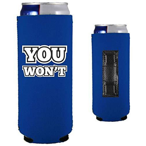 royal blue magnetic slim can koozie with