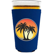 Load image into Gallery viewer, Palm Tree Sunset Pint Glass Coolie