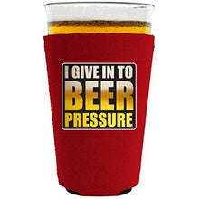 Load image into Gallery viewer, pint glass koozie with beer pressure design