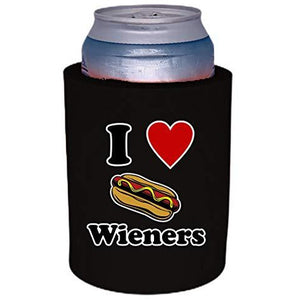 "black thick foam old school can koozie with ""i (heart) wieners"" funny text and hot dog graphic design"