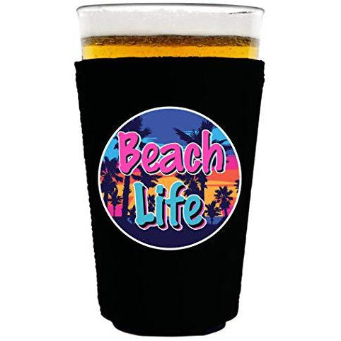 pint glass koozie with beach life design