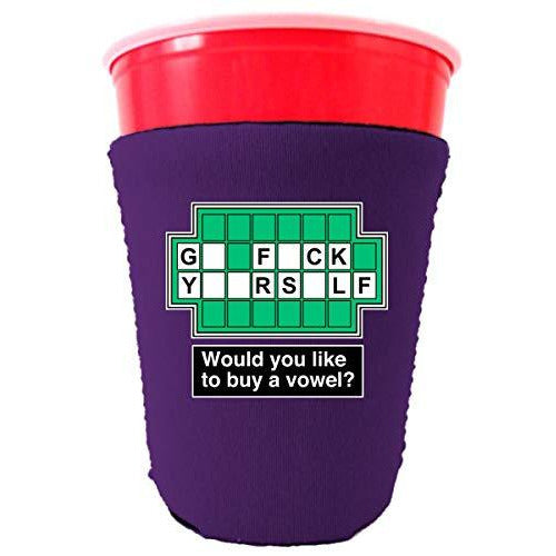 purple party cup koozie with go fuck yourself would you like to buy a vowel design