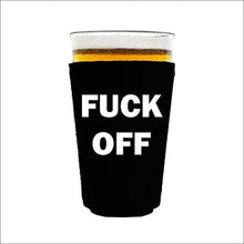 Load image into Gallery viewer, pint glass koozie with fuck off design