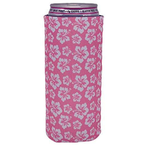 slim can koozie with hibiscus flowers in pink and white pattern design