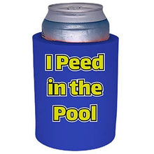 Load image into Gallery viewer, royal blue old school thick foam koozie with i peed in the pool design